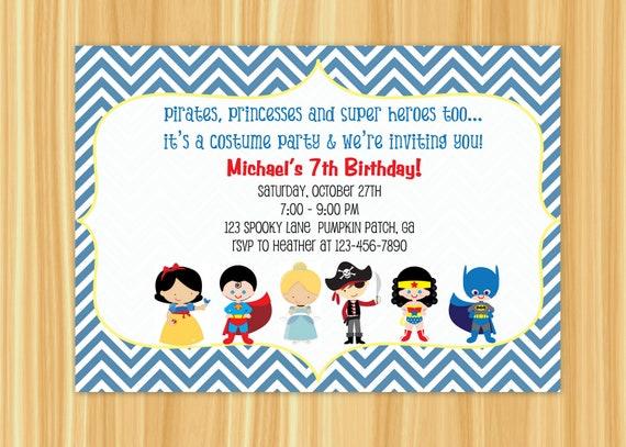 Kids Costume Party Birthday Invitation Blue or Orange Chevron