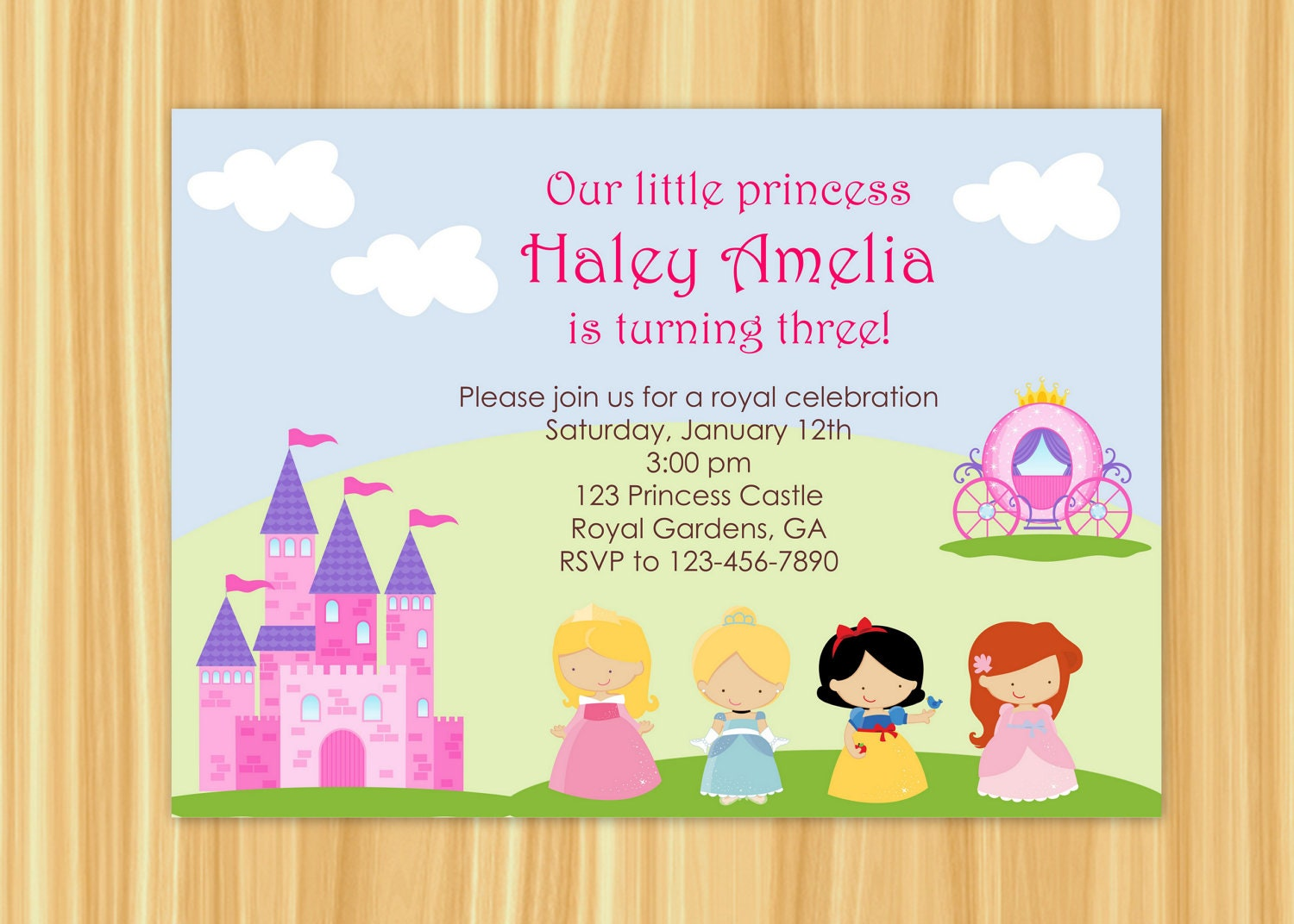Princess Party Invitation Princess Party Birthday Snow Etsy