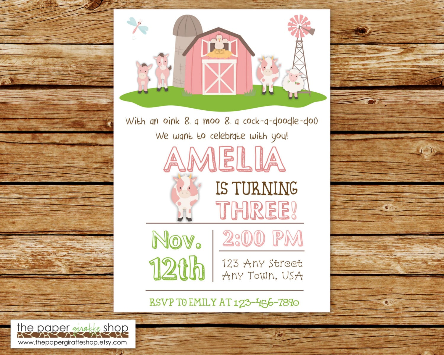 Farm Birthday Invitation Pink Farm Birthday Party Farm | Etsy
