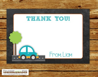 CarThank You Card | Cute Car Birthday Party Thank You Card | Cute Car Party Thank You Card
