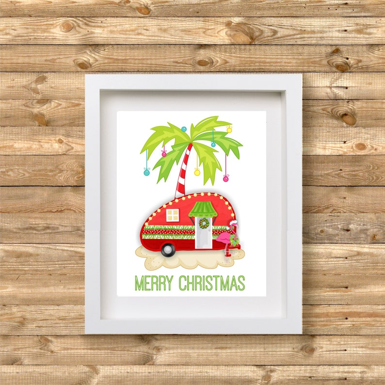 Christmas In July Camping.Christmas Camper Printable Wall Art Tropical Camper Printable Wall Art Glamping Decor Christmas In July Camping Decor Rv Decor