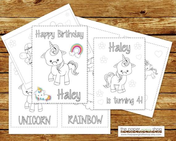 Unicornio Para Colorear Libro Para Imprimir Personalizada Cumpleaños Unicorn Coloring Book Colorear Libro Favor Fiesta Pdf Personalizado
