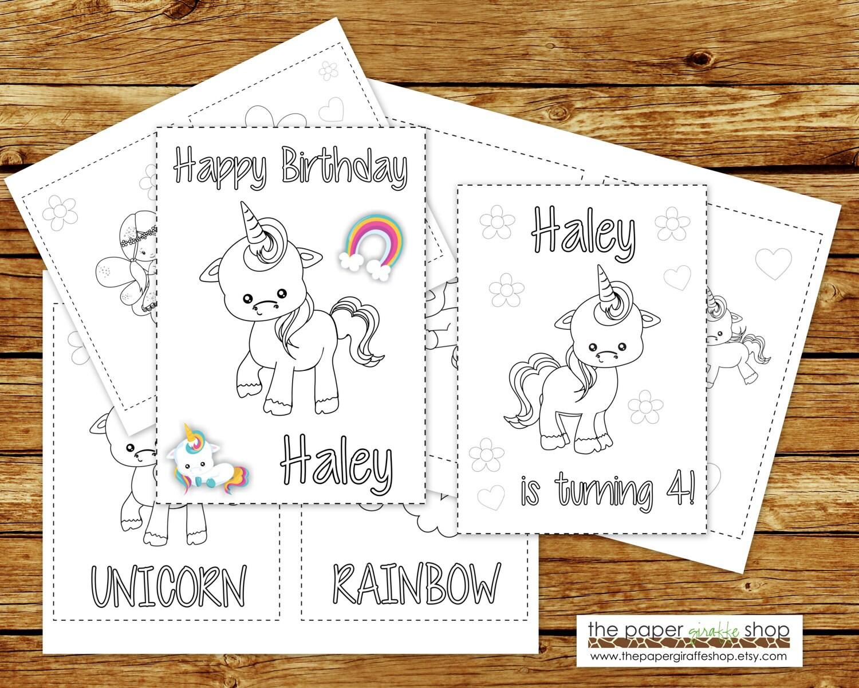 Unicornio para colorear libro para imprimir Personalizada | Etsy