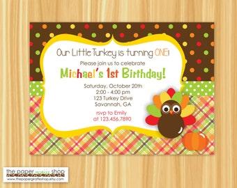 turkey birthday invitation thanksgiving birthday invitation