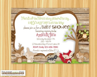 Woodland Creatures Baby Shower Invitation | Forest Friends Invitation | Rustic Woodland Creatures Invitation | Baby Shower Invitation