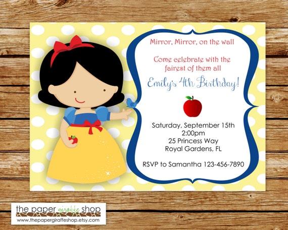 Snow White Invitation Snow White Birthday Party Princess Etsy