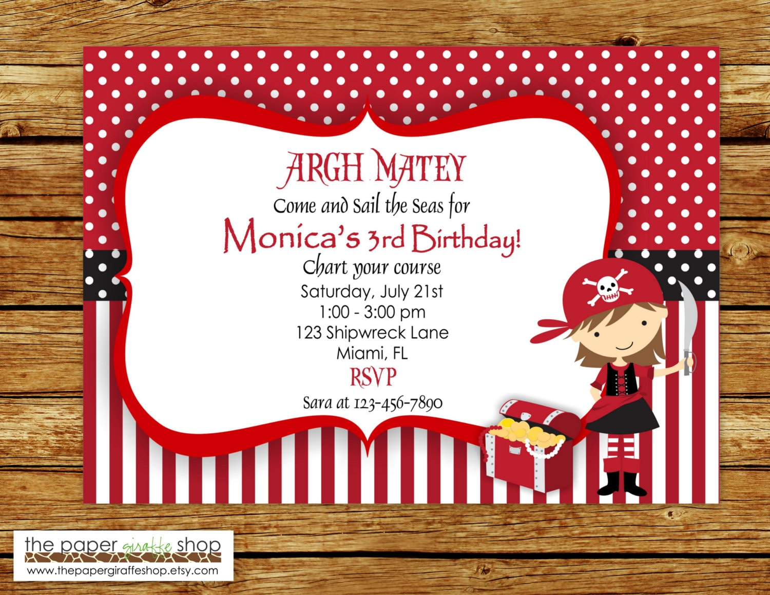 Girl Pirate Invitation Birthday Party