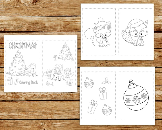 Christmas Coloring Book Printable Pages Woodland Creatures | Etsy
