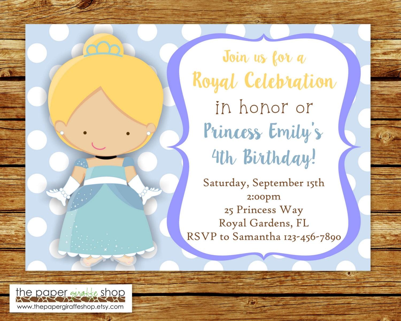 Cindererella Invitation Princess Cinderella Birthday Party | Etsy