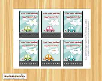 Cute Car Valentine Card for Kids | Valentines Day Classroom Cards | Kids Classroom Cards | Instant Download