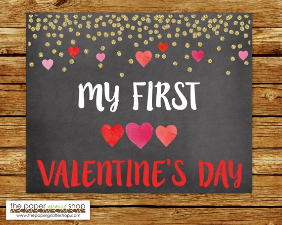 My First Valentine S Day Sign Baby S First Etsy