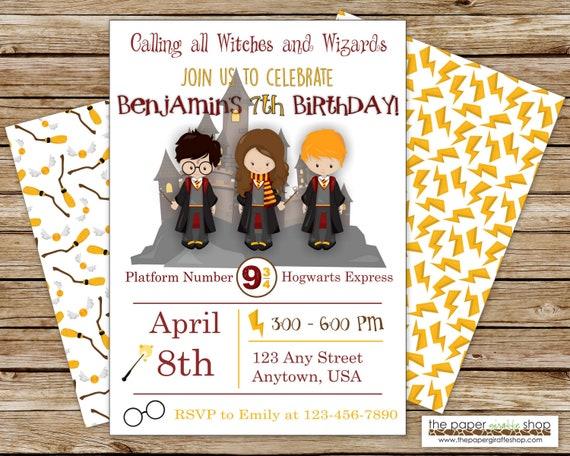 Harry Potter Party Invite Birthday Invitation With