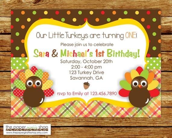 Nasze Małe Indyki Urodziny Bliźniaki Zaproszenie Urodziny Etsy