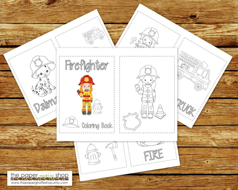 Firefighter Coloring Book Printable Girl Firefighter   Etsy