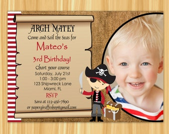 Pirate Invitation with Photo | Pirate Birthday Party Invitation | Pirate Party