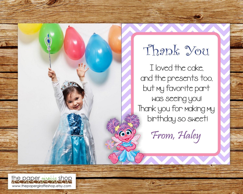 Abby Cadabby Thank You Card with Photo Abby Cadabby Thank | Etsy