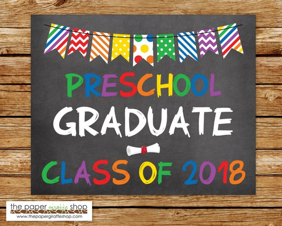 preschool graduation sign chalkboard sign graduation etsy