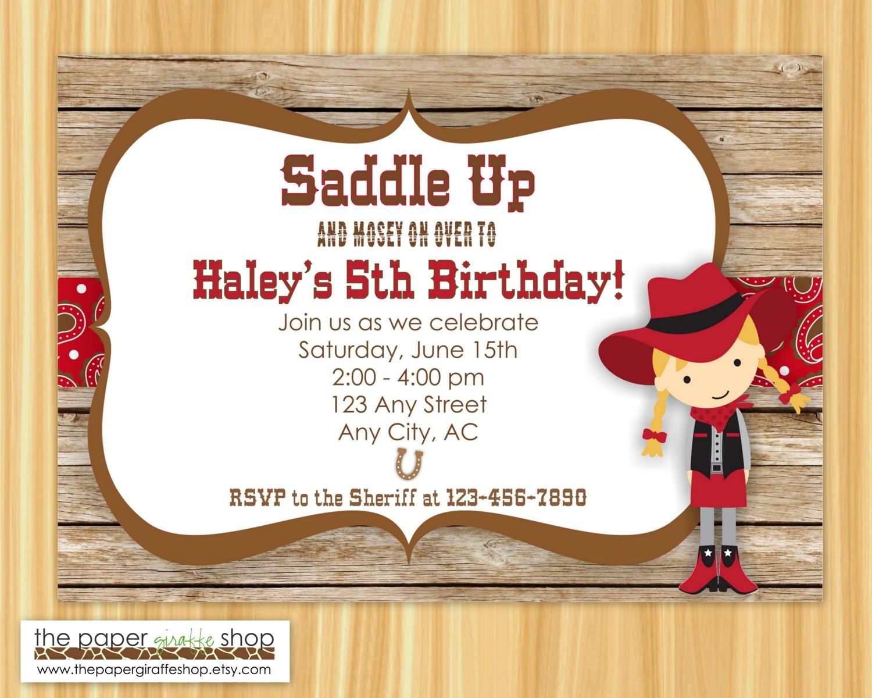 Cowgirl Invitation Cowboy Birthday Cowgirl Birthday Party | Etsy
