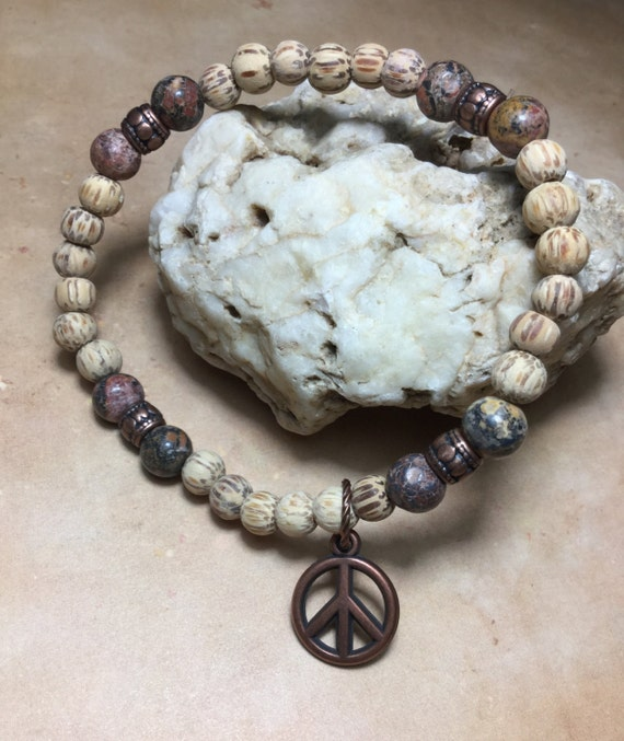 Handmade Leopard Jasper Stone Anklet//Ankle Bracelet W//Turtle//Peace Sign USA