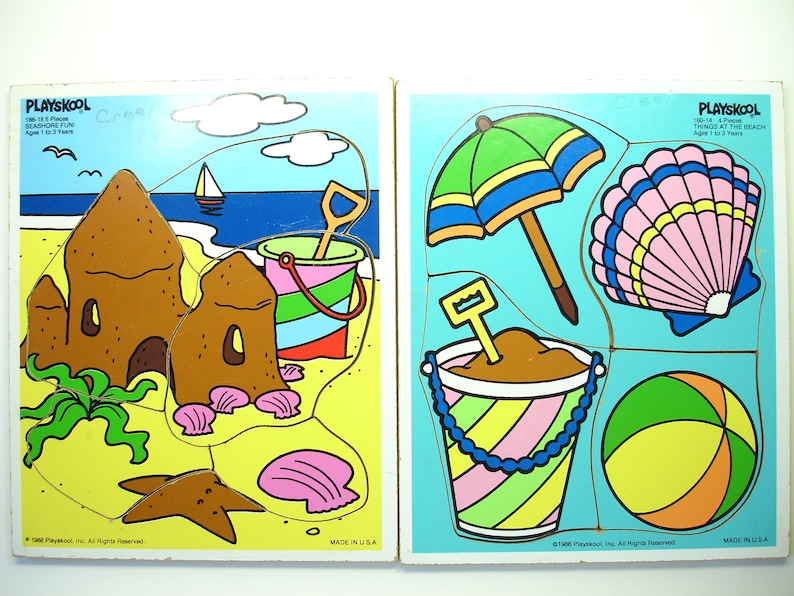 65e6d42e8f74 Playskool Vintage Beach Puzzles Things At the Beach and