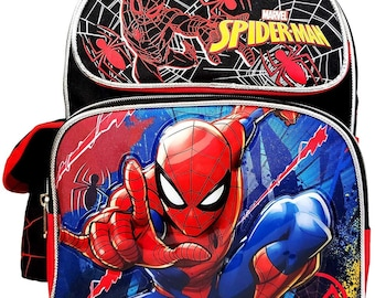 SPIDERMAN WEB MID SIZE CANVAS BACKPACK  RED OR BLACK PERSONALISED FREE