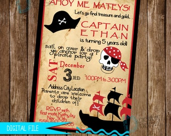 Pirate Birthday Invitation, Pirate Birthday, Pirate Birthday Invite, Pirate Invitation, Pirate Party, Printable Invitation, Pirate Decor