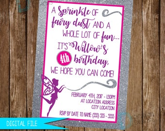 Fairy Invitation, Fairy Birthday Invitation, Fairy Birthday Invite, Fairy Party Idea, Glitter Invitation, Glitter Birthday Invitation