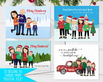 Holiday cards etsy cartoon christmas card funny holiday card personalized greeting card custom family card printable card cartoon family portrait holiday m4hsunfo