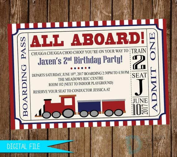 Train Birthday Invitation Ticket