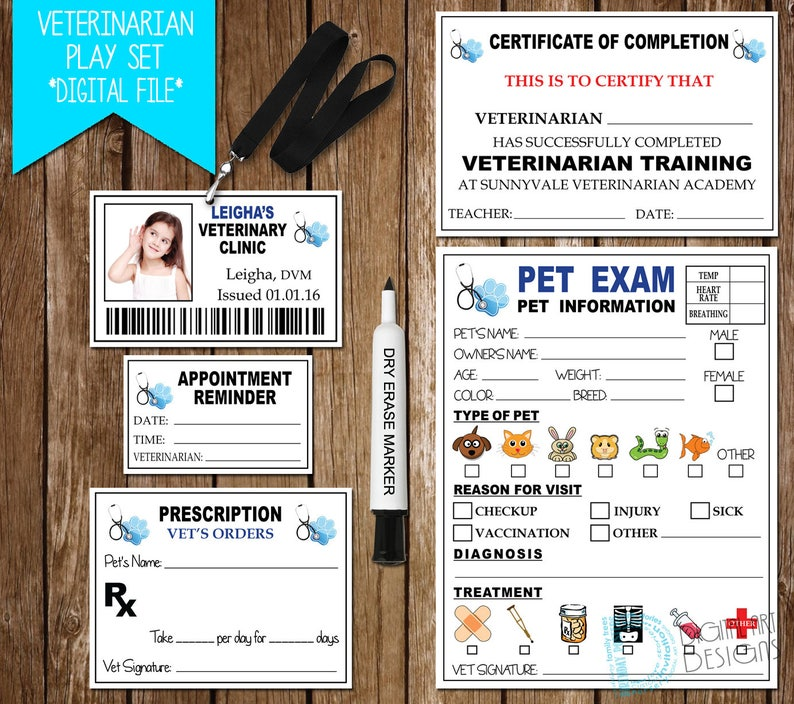 image about Printable Fake Vet Papers named Veterinarian Fake Perform Print, Vet Printable, Veterinarian Faux, Phony Vet Perform, Vet Phony Enjoy Sets, Fake Engage in Vet Healthcare facility