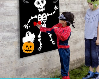 Halloween Party Game, Kids Halloween Game, Pin the Bow Tie, Mr. Bones, Halloween Decorations, Halloween Party Decor, Pin The Nose Game