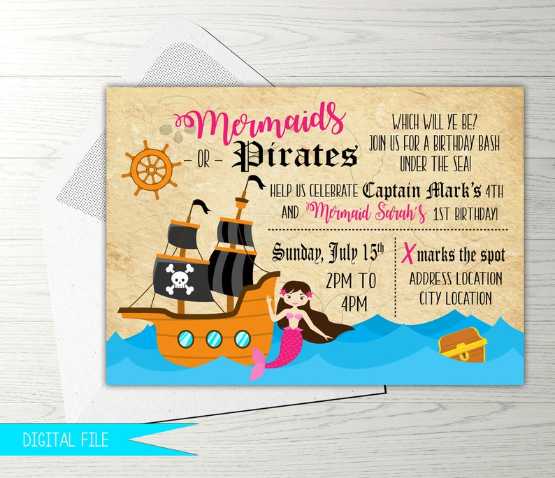 Mermaid and Pirate Invitation Mermaid and Pirate Party image 0