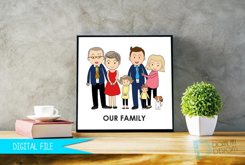 Cartoon Family Family Portrait Cartoon Portrait Christmas image 0
