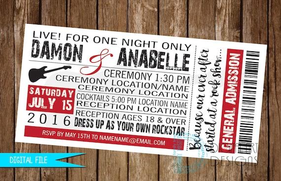 concert ticket invitation rock and roll wedding invitation etsy