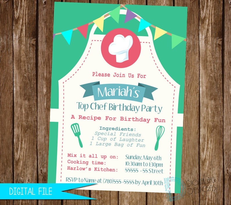 Cooking Invitation Cooking Party Invitation Cooking Birthday image 0