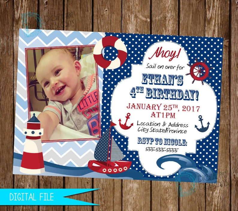 Nautical Invitation Birthday Sailboat
