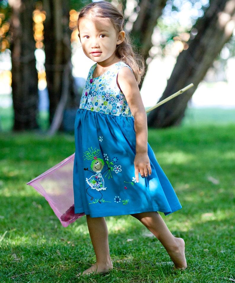 40e9790ebd2 Girls Dress Blue Cotton Sundress 2T 4T 5T