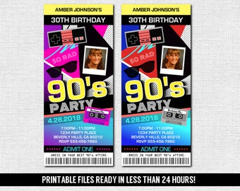 90's TICKET INVITATIONS Birthday House Party - (print your own) Personalized Printable Files Totally Rad!