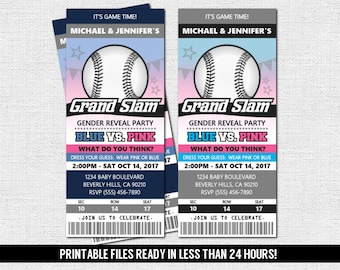 GENDER REVEAL TICKET Invitation Baseball Baby Shower Party + Diaper Raffle (print your own) Personalized Printable Files - Admit One