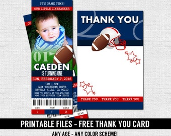 Football ticket invitations birthday party thank you card etsy football ticket invitations birthday party thank you card any age print your own 50 yard line personalized printable file any color filmwisefo