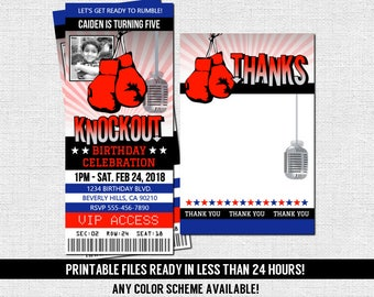 30 PRINTED TICKETS Baby Shower Boxing Invitation Ticket Personalized Boxing Baby Shower Invitation Red Black Boxing Theme Party Cards