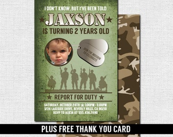 CAMOUFLAGE ARMY INVITATIONS Birthday Party Printable Files Free Thank You Card