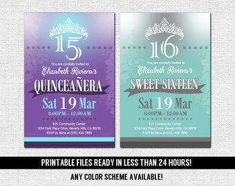 Tiara invitation etsy quinceanera or sweet 16 invitations any color scheme print your own printable files sixteen birthday tiara quince party dance filmwisefo