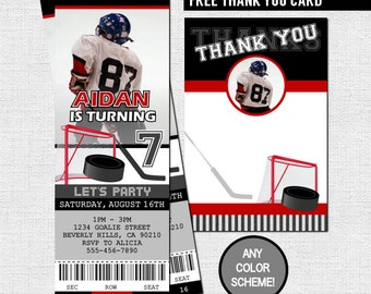 football ticket invitations birthday party thank you card etsy