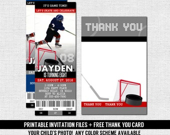 41fa1211582 HOCKEY TICKET INVITATIONS Skate Birthday Party + Bonus Thank You Card  (print your own) Personalized Printable Files - Any Color!