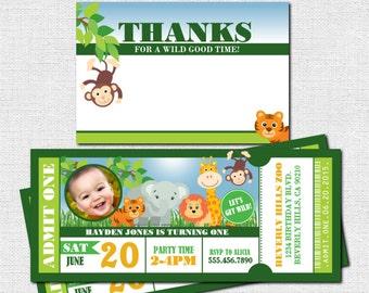 ZOO TICKET INVITATIONS Birthday Safari Party Bonus Thank You Card Print Your Own Printable