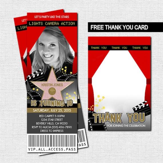 hollywood ticket invitations red carpet party bonus thank etsy