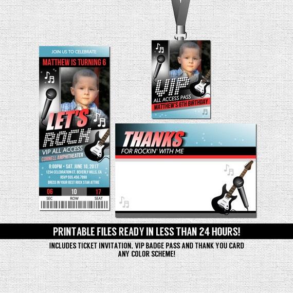 Concert Ticket Invitations Rock Star Birthday Party Thank | Etsy
