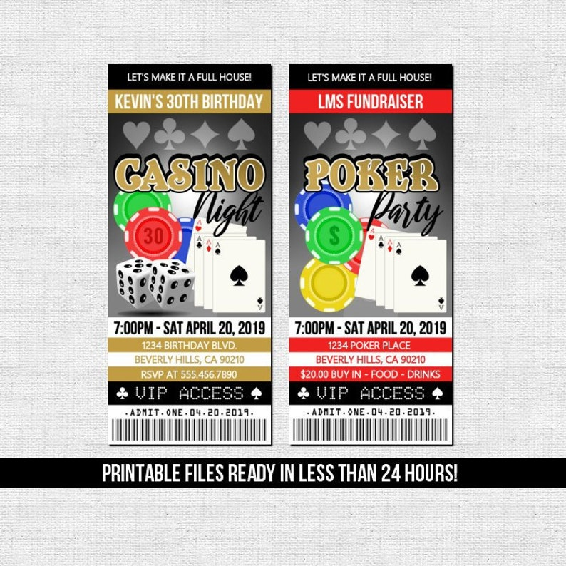 CASINO TICKET INVITATION Poker Night Birthday Party Any Age