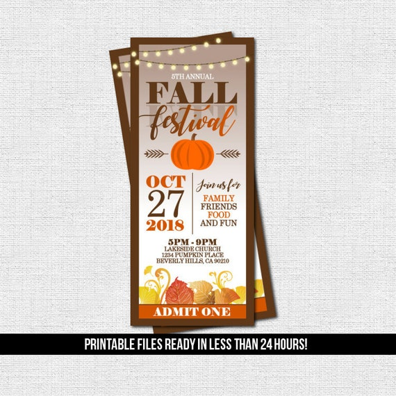 FALL FESTIVAL TICKET Invitations Harvest Birthday Party